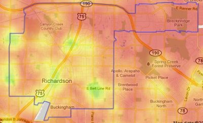 Richardson's Walk Score Heat Map